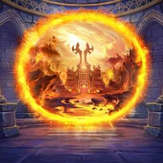 """by Gustav Schmidt """"Come to beautiful Firelands! Where it's """"Way nicer than the Abyssal Maw!"""" What is your most fun result from Firelands Portal? Schmidt, Ars Magica, Hearthstone Game, Portal Art, Fantasy Art Landscapes, Dragon Knight, World Of Fantasy, Wow Art, Fantasy Weapons"""