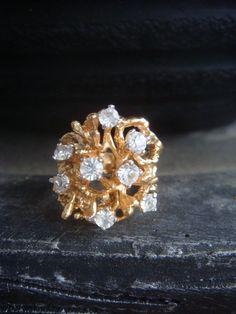 Vintage Crystal Ring  Crystal Ring  Crystal by JennKoDesign
