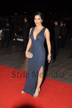 Sophie Choudry in midnight blue Roberto Cavelli at Karan Johar's birthday party http://shar.es/quE65