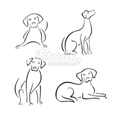 dog line drawing | Dog design set Royalty Free Stock Vector Art Illustration
