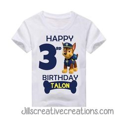 Paw Patrol T-Shirt. Please feel free to contact us if you have any questions placing an order jillsinvitations@gmail.com TODDLER SIZE CHART YOUTH SIZE CHART ADULT SIZE CHART