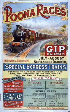 Art Print Indian Railways Train Poster - Poona Races, 1880 Print 8 x 10 Vintage Advertising Posters, Vintage Travel Posters, Vintage Advertisements, Vintage Ads, Vintage Trains, Vintage Style, Train Posters, Railway Posters, Indian Railway Train