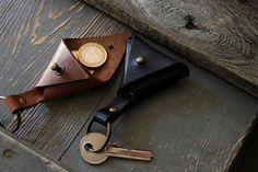 Leather keychain Leather key holder Triangle key fob Small