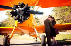 Stunning photo of an actual pilot in a vintage shoot with his fiance (now wife).    photo: Jane Bradley Photography
