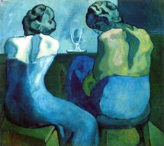 """Title: """"Two women sitting at a bar."""" Artist: Pablo Picasso Completion Date: 1902 Style: Symbolism Period: Blue Period Genre: genre painting Technique: oil Material: canvas Dimensions: 80 x cm Gallery: Royal Academy of Arts, London, UK Art And Illustration, Illustrations, Art Picasso, Picasso Paintings, Picasso Blue Period, Cubist Movement, Georges Braque, Art Moderne, Henri Matisse"""