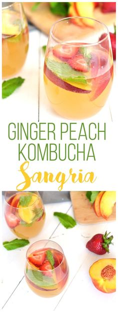 For the perfect mix of health and fun - this Ginger Peach Kombucha Sangria is a great summer drink! 3 simple ingredients and fresh fruits combine in a tasty way!