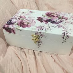 Tea Box Wooden Tea chest Floral Tea Bag Box with 9