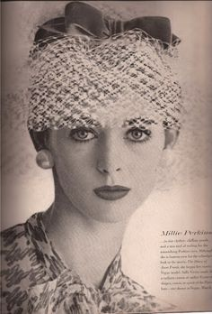 "Millie Perkins  Demure Flirtation   International cover girl and star of ""Diary of Anne Frank""  Sally Victor hat"
