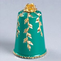 Felix Morel Thimble - Green Enamel Golden Rose