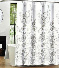 Tahari Luxury Cotton Blend Shower Curtain Gray Taupe Beige Large Paisley Scrolls on White Tahari Home http://www.amazon.com/dp/B00WXLACRA/ref=cm_sw_r_pi_dp_E01tvb07AZQM6