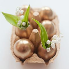 Give cracked eggshells a luxe makeover with gold spray paint.