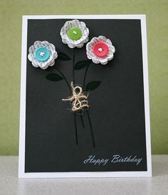 cute b with pops of color and embossing on black-gotta remember to do that