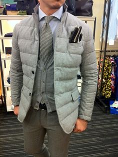Quilted...love this for looking sharp in cold weather