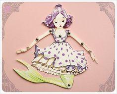 Mermaid Paper Doll  handmade by the Filigree  Green by theFiligree, $8.00