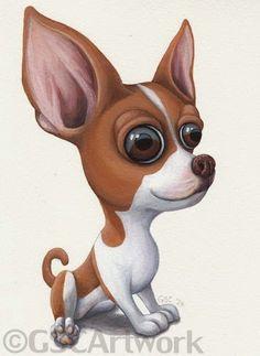 chihuahua dog puppy pet cartoon caricature art acrylic painting