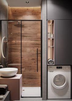 Washroom Design, Toilet Design, Bathroom Design Luxury, Small Bathroom Layout, Bathroom Design Inspiration, Laundry In Bathroom, Bathroom Cleaning, Home Room Design, Apartment Interior