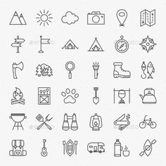 Camping Vector Line Icons by Anna_leni Vector Adventure Icons over Light Background. Thin Outline Summer Camp Symbols. Travel Items.