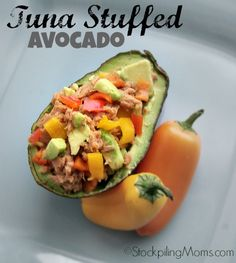 Tuna Stuffed Avocado is a great healthy, clean eating Paleo lunch or dinner meal recipe!