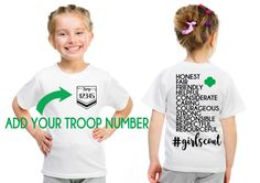 Girl Scout CUSTOM Troop # Girl Scout Law Design Front and Back by 513Design on Etsy https://www.etsy.com/listing/475353683/girl-scout-custom-troop-girl-scout-law