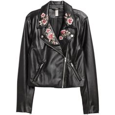 Embroidered Biker Jacket $59.99 (930 ARS) ❤ liked on Polyvore featuring outerwear, jackets, faux leather jacket, biker jackets, faux-leather moto jackets, fleece-lined jackets and motorcycle jacket
