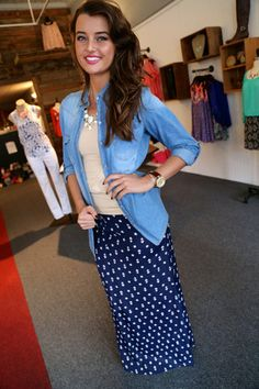 Maxi Skirt Love....just without the necklace....but otherwise really cute!!