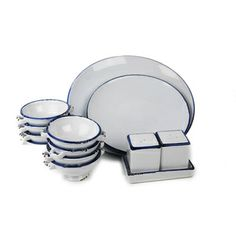 100 Essentials Enamel Style Dinner Set   Contemporary   Dinnerware   Pure  Home