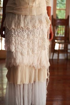 Raw edged layers in a slim column maxi skirt.
