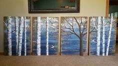 Pallet white birch wall decor Painting, 4 Piece set, 9' wide total, Hand Painted Dark Blue, reclaimed wood, chickadee,upcycled rustic shabby