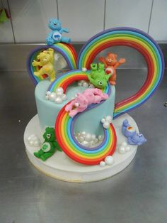 care bear rainbow cake Celebrate with Cake!: Care Bears Cake girl boys party cake cupcake cake pop birthday rainbow