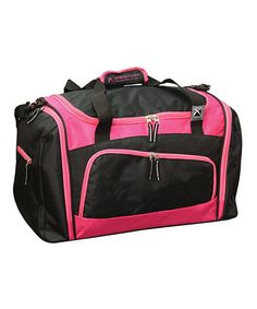 Take a look at this Black & Hot Pink 21'' Duffel by Travelers Club Luggage on #zulily today!