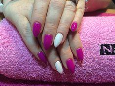 Fuschia & white glitter pointy gels