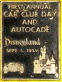 1959 Car plaque from Disneyland Car Club Day and Autocade. Would like to find out original dimensions of the original plaques.