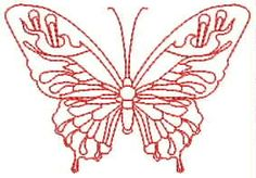 - Redwork and Colourful Butterflies Simple Line Drawings, Butterfly Shape, Simple Lines, Machine Embroidery Designs, Super Easy, Cloths, Towels, Embellishments, Butterflies