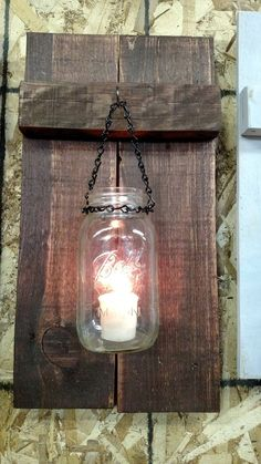 Pallet Wood and Mason Jar Candle Holder