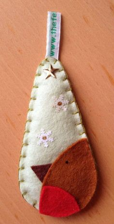 Felt Christmas decoration. Robin teardrop bauble by thefeltfairy, £2.50