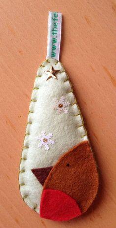 Felt Christmas decoration. Robin teardrop bauble by thefeltfairy