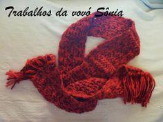 Trabalhos da vovó Sônia: Cachecol sedificada vermelho mescla - croche