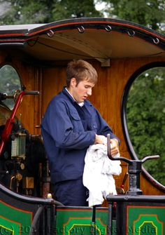A volunteer on the Bluebell Railway
