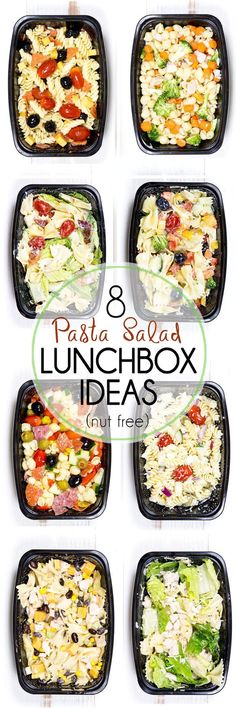 8 Make Ahead Pasta Salad Lunch Box Ideas that are quick and easy to throw together, and oh so tasty. These make a great pack and go lunch option. Perfect for school lunches for kids (nut free), and great for working adults too.
