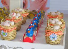 Itens de decoração estilo fazendinha, como palha, cestinhas! Galinha Pintadinha - Festa Provençal
