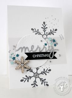 Love for Stamping, Flurry of Wishes, Holly Jolly Greetings, Christmas Greetings Thinlits Dies Christmas Cards To Make, Noel Christmas, Christmas Snowflakes, Xmas Cards, Christmas Greetings, Handmade Christmas, Holiday Cards, Greeting Cards, Stampin Up Weihnachten