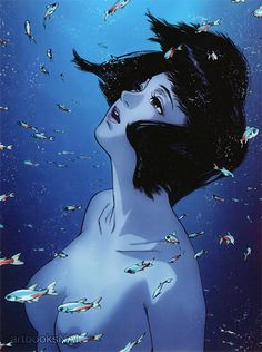 "artbooksnat: ""Perfect Blue (パーフェクトブルー)Rare promotional art work for the film…"