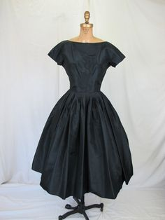 is delightful!  1950s Black Silk Cocktail Party Dress Beautiful by tovasvintage, $325.00