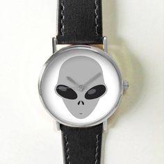 Alien Emoji Watch Watches for Men Women Leather  by FreeForme