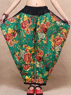 Wide  Printed Irregular Elastic Waist Pants