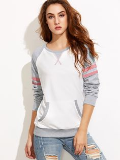 To find out about the Color Block Varsity Striped Raglan Sleeve Sweatshirt at SHEIN, part of our latest Sweatshirts ready to shop online today! Sport Outfits, Casual Outfits, Cute Outfits, Girls Fashion Clothes, Fashion Outfits, Clothes For Women, Knit Shirt, Sweater Shirt, Pullover