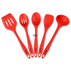 5Pcs Silicone Cooking Set Utensils Spatula Spoon Serving Kitchen Tools Cook Chef