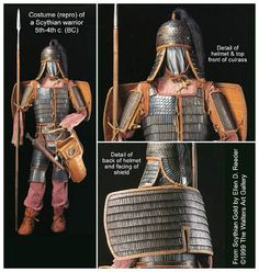 Views of century BC Sythian armor reconstruction. Arm Armor, Body Armor, Iron Age, Medieval, Military Costumes, Barbarian, Ancient History, Warfare, Military History
