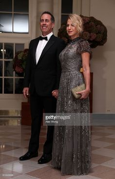 Comedian Jerry Seinfeld and his wife Jessica Seinfeld arrive at the White House for a state dinner October 18, 2016 in Washington, DC. U.S. President Barack Obama is hosting a state dinner for Prime Minister of Italy Matteo Renzi and his wife Agnese Landini.  (Photo by Alex Wong/Getty Images)