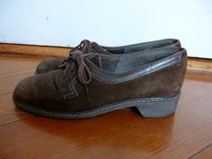 N E W * L I S T I N G 1970s Shoes Brown Suede Lace Up Shoes by LonePony via Etsy
